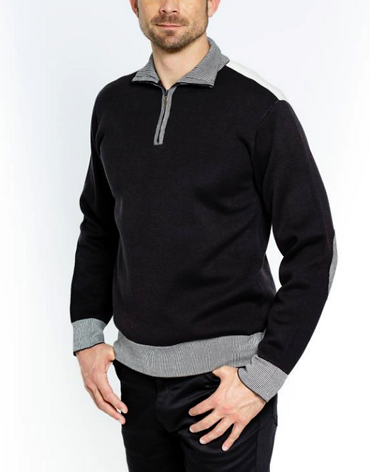HALF ZIP ELBOW PATCH SWEATER