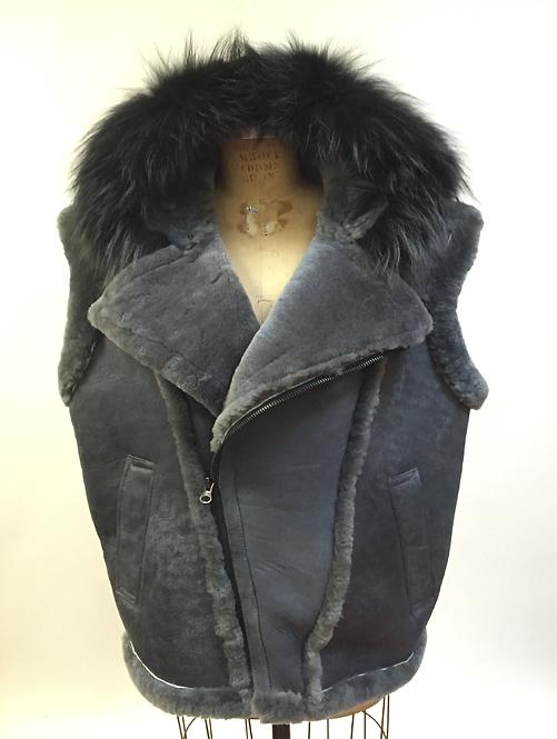 Gray Hooded Shearling Vest, Shearling Vest, Sheep Skin, Sheep Fur