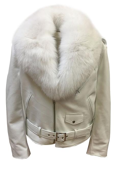 White Motorcycle Jacket, Leather Jacket, Fur collar Motorcycle Jacket