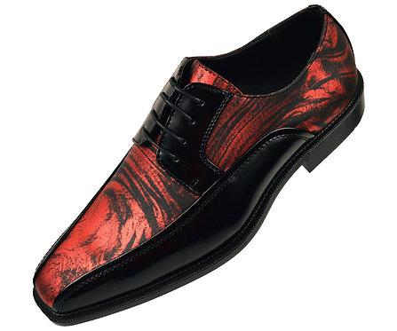 Bolano Mens Metallic Red Swirl Printed Oxford Tuxedo Dress Shoe