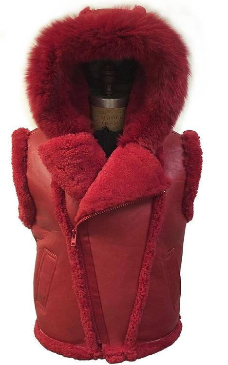 Red Hooded Shearling Vest, Shearling Vest, Sheep Skin, Sheep Fur