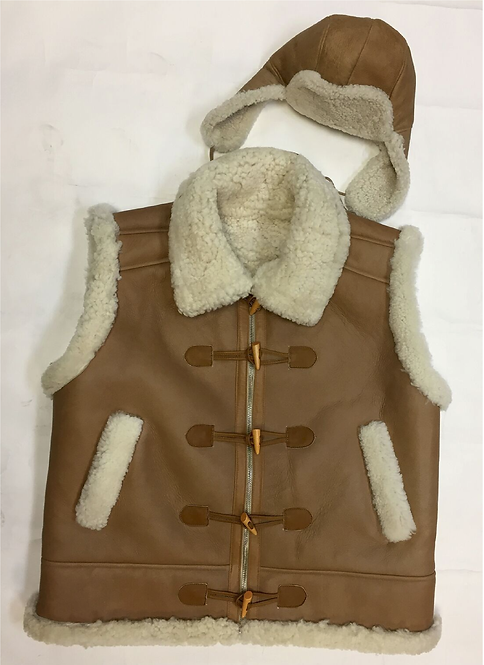 Tan Toggle Shearling Leather Vest
