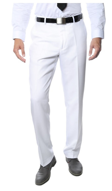 Premium White Regular Fit Suspender Ready Formal & Business Pants