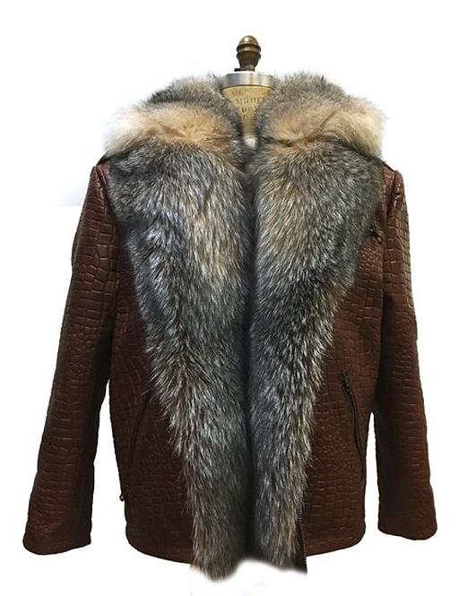 Brown Fur Collar Motorcycle Jacket, Lamb Skin Leather, Alligator Embrossed
