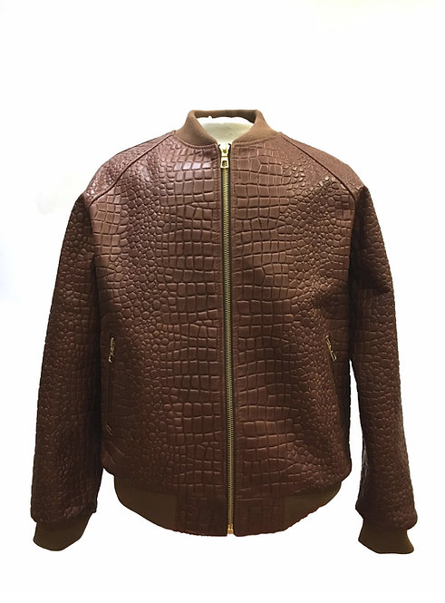 Brown Jacket, Alligator Skin Jacket, Leather Jacket, Varsity Jacket