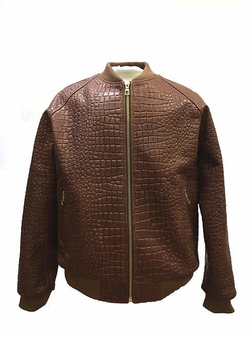 Brown Jacket, Alligator Skin Jacket, Leather Jacket, Varsity Jacket