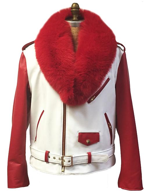 White/Red Motorcycle Jacket, Leather Jacket, Fur collar Motorcycle Jacket
