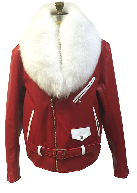 Red/White Motorcycle Jacket, Leather Jacket, Fur collar Motorcycle Jacket