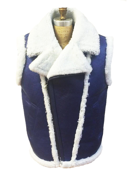 Navy/White Shearling Vest, Shearling Vest, Sheep Skin, Sheep Fur