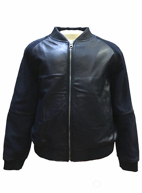 Navy Blue Jacket, Leather Jacket, Varsity Jacket