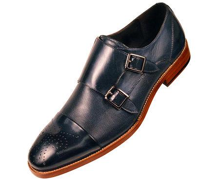 Asher Green Mens Navy Blue Genuine Leather Cap Toe Double Monkstrap Dress Shoe