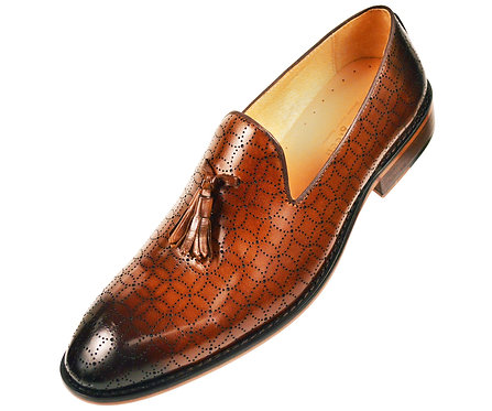 Asher Green Contemporary Cognac Burnished Leather Tassle Slip On Loafer Dress