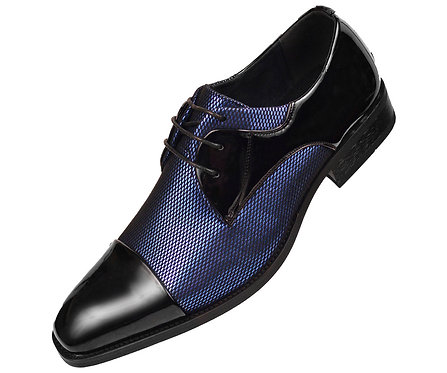 Amali Mens Two Tone Metallic Royal Blue and Black Tuxedo Dress Shoe