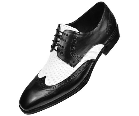 Asher Green Two Tone Black and White Genuine Leather Perforated Wingtip Oxford