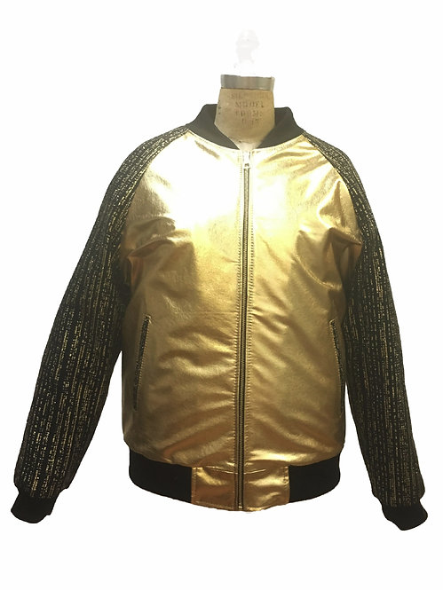 Gold Jacket, Lamb Skin Jacket, Leather Jacket, Varsity Jacket