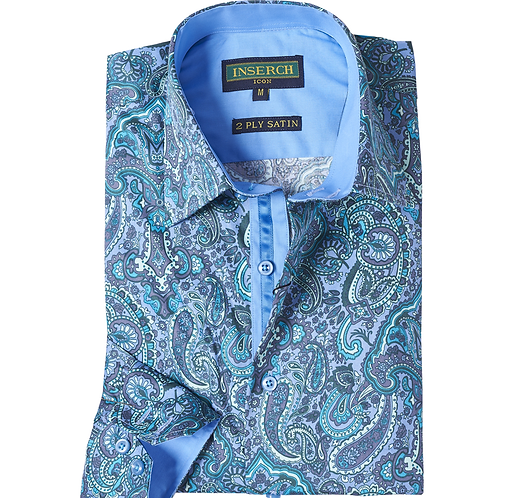 Cotton Paisley and Satin Seafoam Shirt