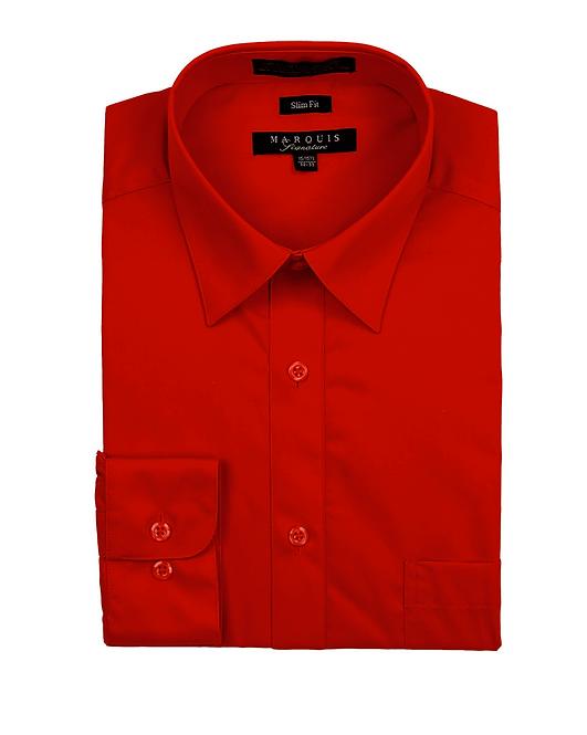 slim fit dress shirt red