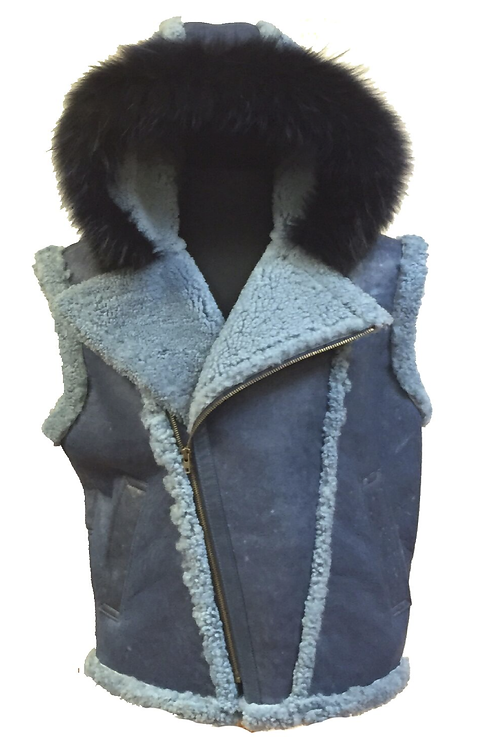 Light Blue Hooded Shearling Vest, Shearling Vest, Sheep Skin, Sheep Fur