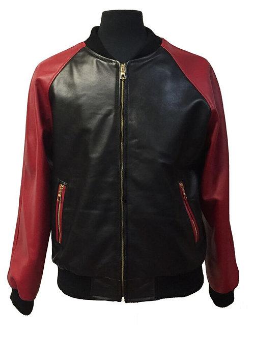 Black/Red Lamb Leather Varsity Jacket #10511