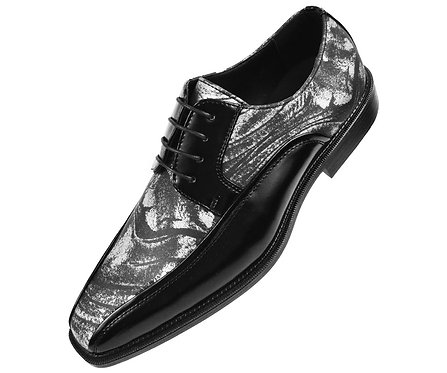 Bolano Mens Metallic Silver Swirl Printed Oxford Tuxedo Dress Shoe