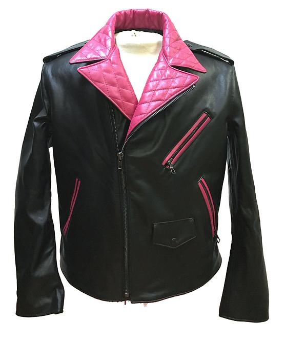 Black/Pink Quilted Jacket, Leather Racing Jacket, Motorcycle Jacket