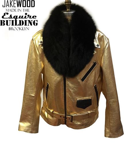 Gold/Black Motorcycle Jacket, Leather Jacket, Fur collar Motorcycle Jacket