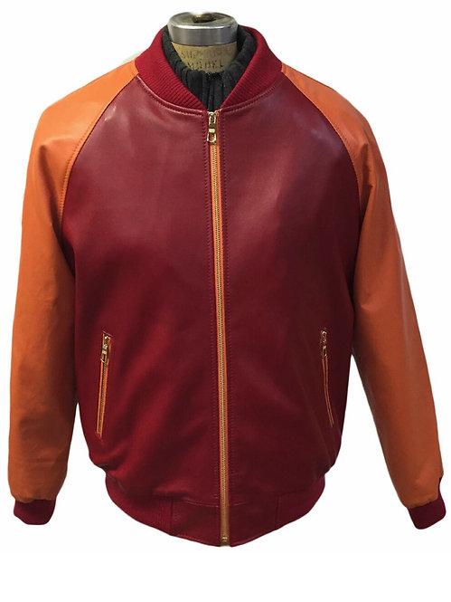 Red/Orange Jacket, Lamb Skin Jacket, Leather Jacket, Varsity Jacket