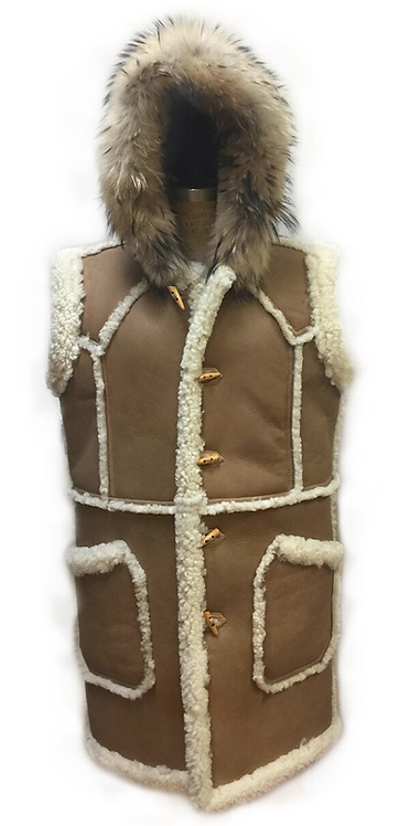 Tan Sleeve-less Shearling Coat, Shearling Coat, Sheep skin Coat, JakeWood, Tan Coat
