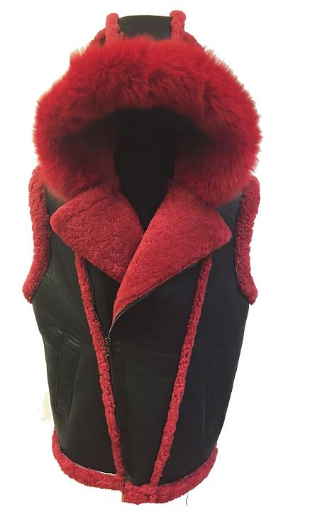 Black/Red Hooded Shearling Vest, Shearling Vest, Sheep Skin, Sheep Fur