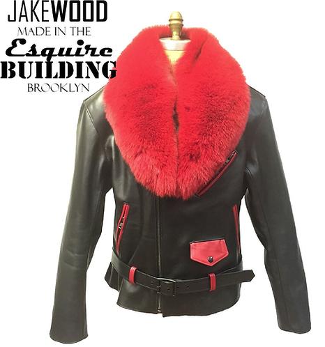 Black/Red Motorcycle Jacket, Leather Jacket, Fur collar Motorcycle Jacket