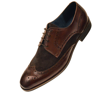Asher Green Contemporary Dark Brown Genuine Leather and Suede Wingtip Oxford