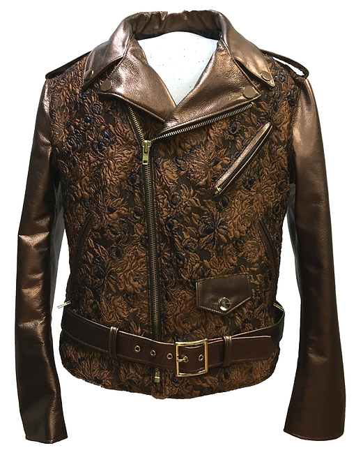 Brown Embroidery Motorcycle Jacket 30312