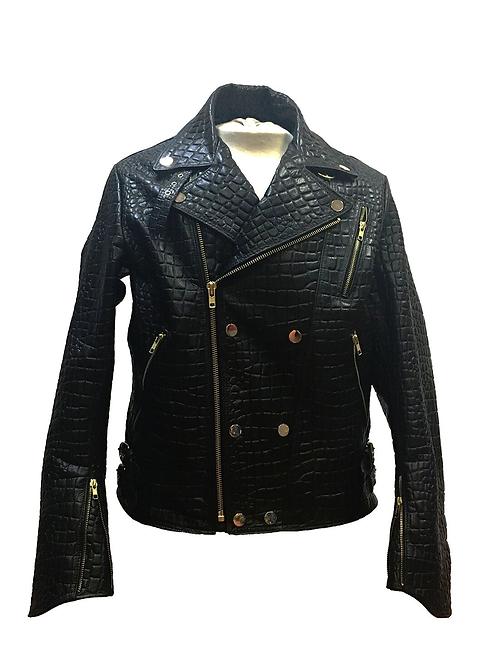 Black Motorcycle Jacket, Alligator Skin Jacket, Motorcycle Jacket