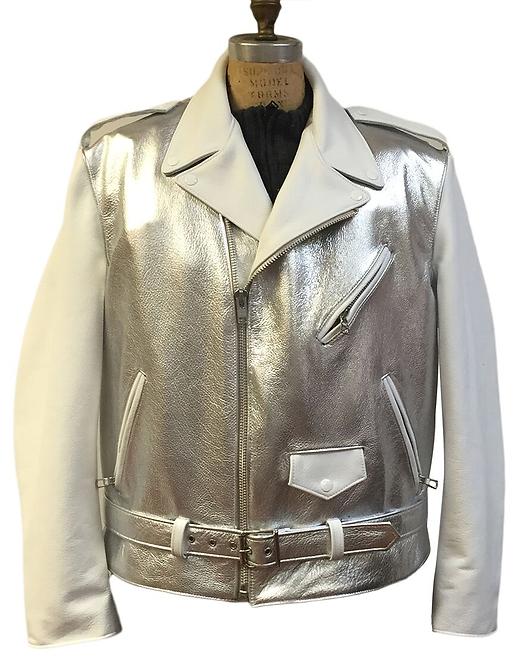 Silver Motorcycle Jacket, Leather Jacket, Motorcycle Jacket