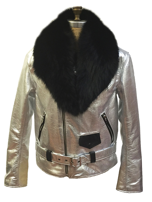 Silver/Black Motorcycle Jacket, Leather Jacket, Fur collar Motorcycle Jacket