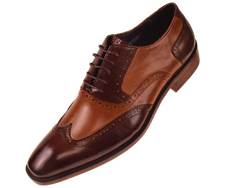 Asher Green Two Tone Brown & Cognac Genuine Leather Perforated Wingtip