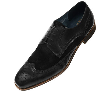 Asher Green Contemporary Black Genuine Leather and Suede Wingtip Oxford