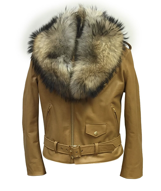 Tan Motorcycle Jacket, Leather Jacket, Fur collar Motorcycle Jacket