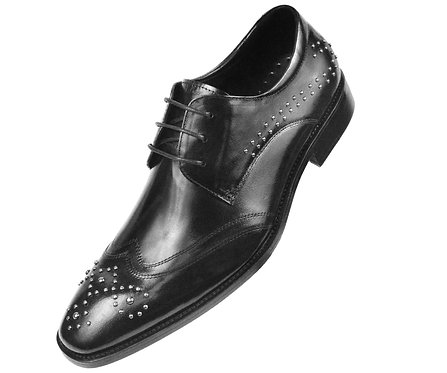 Asher Green Classic Black Genuine Leather Perforated Designed Wingtip Oxford