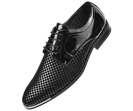 Amali Black Patent Oxford Tuxedo Dress Shoe with Checker Print and Silver Tip