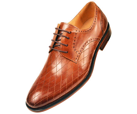 Asher Green Mens Contemporary Cognac Genuine Leather Quilted Plain Toe Oxford