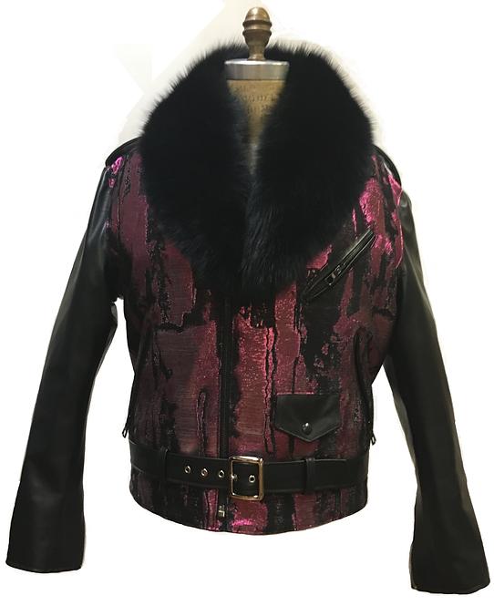 Fuchsia/Black Motorcycle Jacket, Racing Jacket, Embroidered Jacket