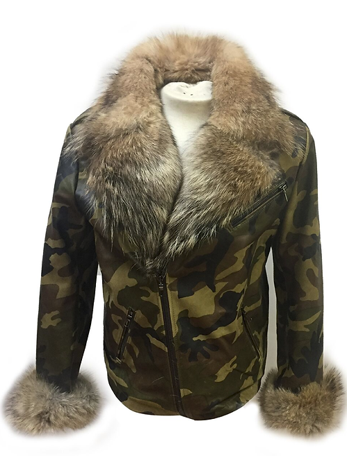 Camouflage Leather Fox Fur Collar Jacket, Leather Jacket, Fur Collar Jacket, Camo Printed Jacket