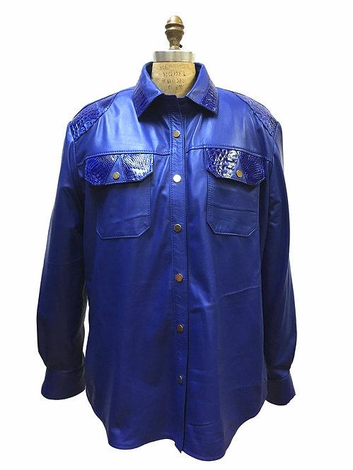 Royal Blue Shirt, Leather Shirt, Alligator Shirt, Alligator Leather