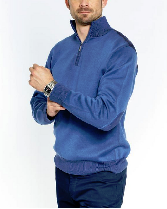 HALF ZIP POLO ELBOW PATCH