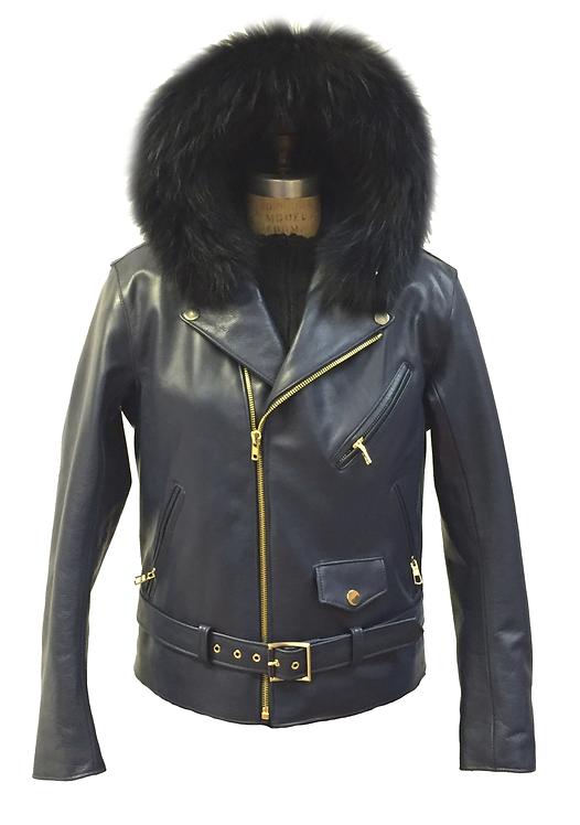 Black Hooded Racing Jacket, Motorcycle Jacket, Fur Hooded Jacket