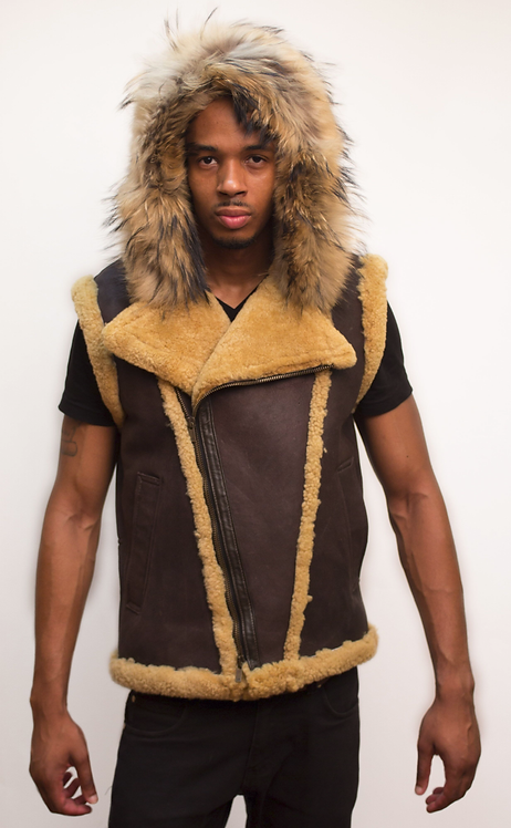 Brown/Tan Hooded Shearling Vest, Shearling Vest, Sheep Skin, Sheep Fur