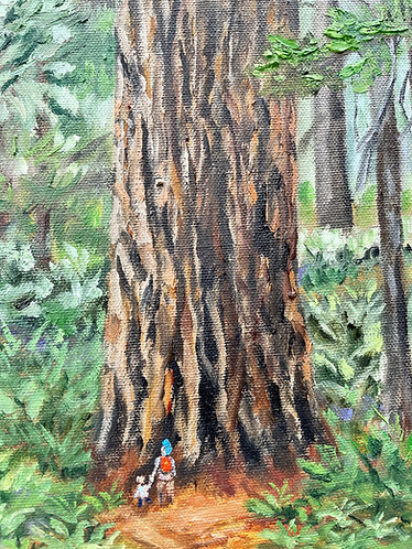"""Redwood State Park, Northern California, original oil painting 30x10"""""""