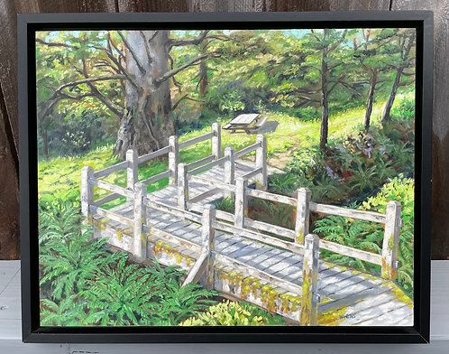"Northern California Picnic Spot, 12x16"" framed original oil painting"
