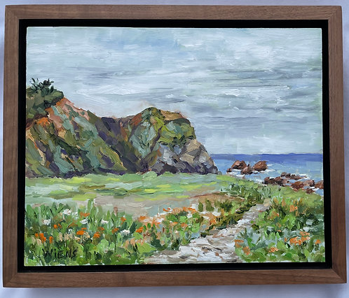 "Northern California Coast Headland 9x11"" framed original oil painting"